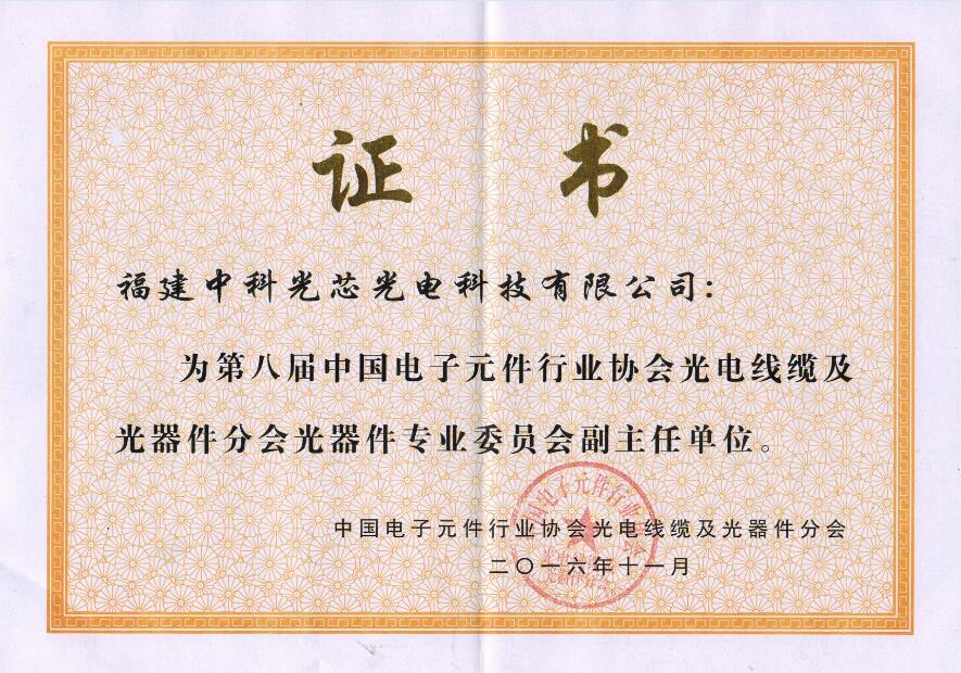 中國電子元件行業協會光電線纜及光器件分會光器件專業委員會副主任單位