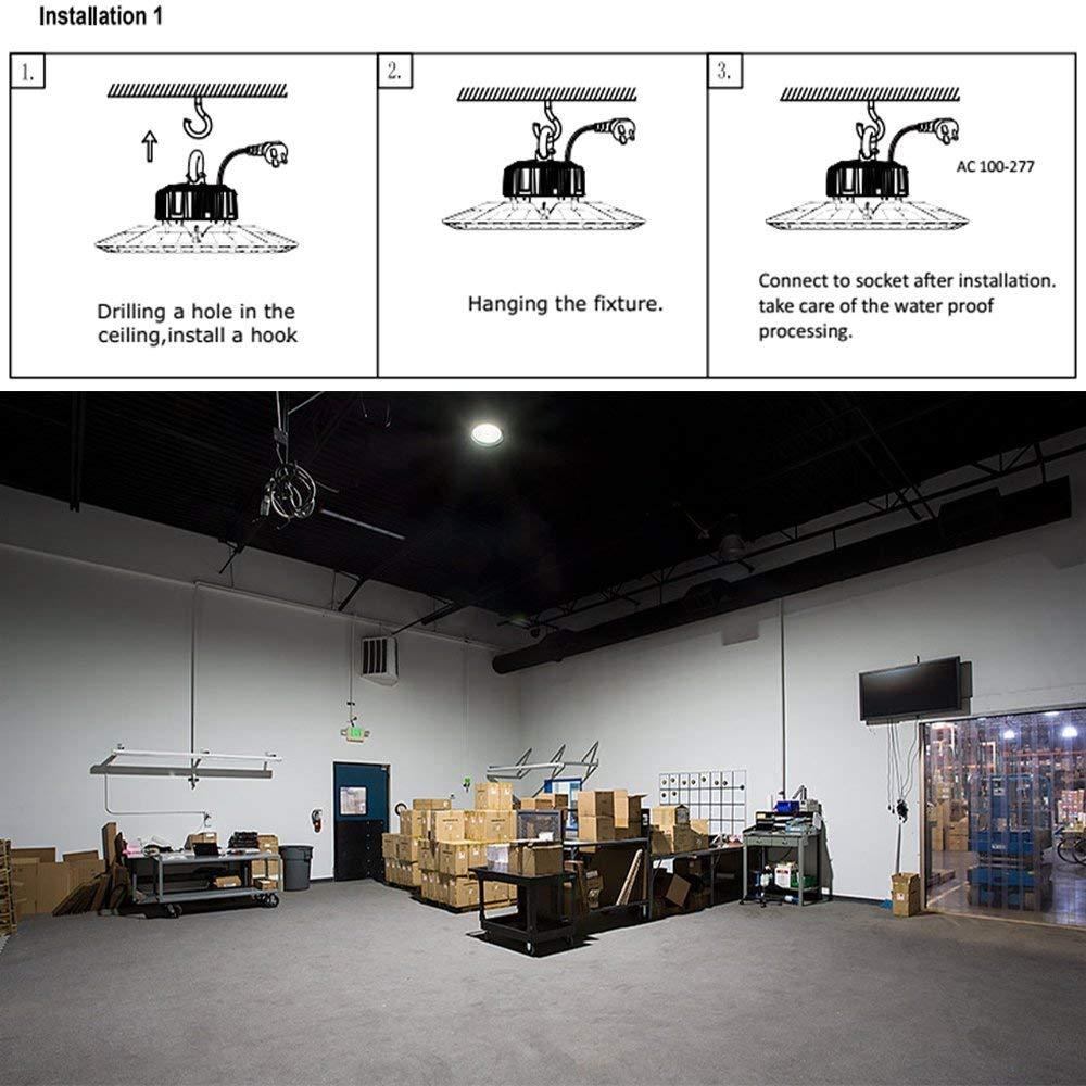 FaithSail 100W UFO LED High Bay Light, 11000lm, 5000K, US