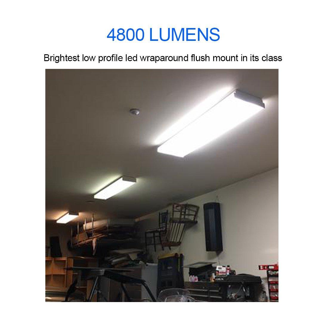 AntLux 4ft LED Wraparound Flushmount Light, 40W LED Garage