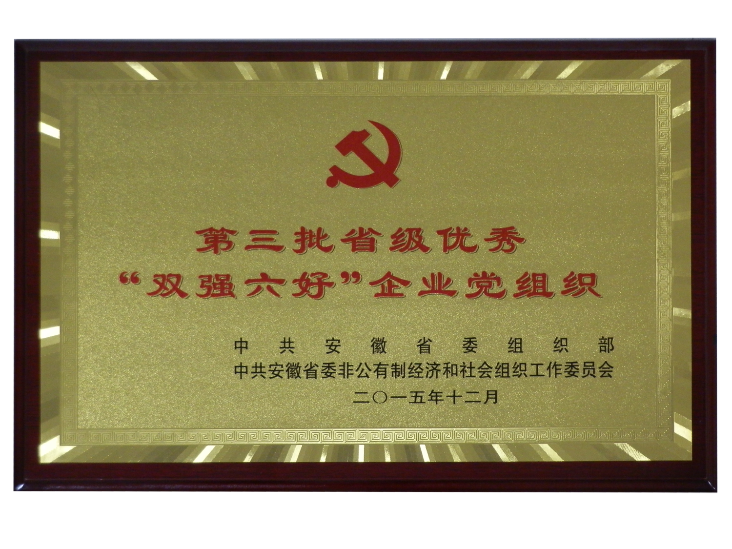 """第三批省级优秀""""双强六好""""企业党组织"""