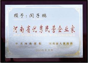 榮譽-授予:閆子鵬河南省優秀民營企業家