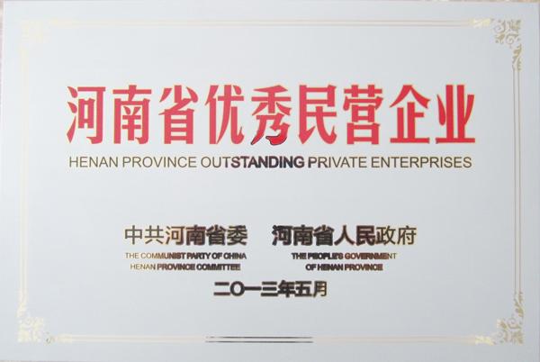 榮譽-河南省優秀民營企業稱號2
