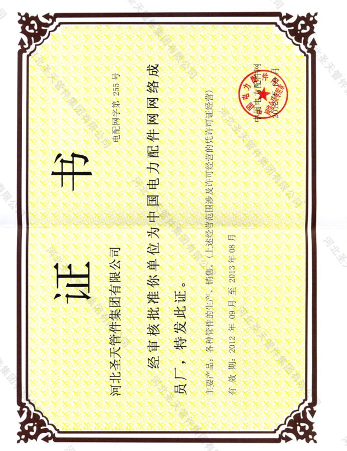 16国家电力公司电站配件供应网络成员厂证书