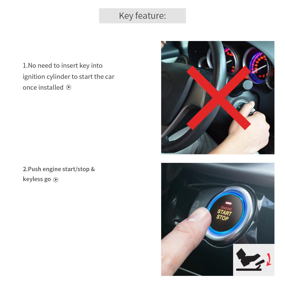 EASYGUARD EC002-P3 car Security Alarm PKE Passive keyless Entry Remote Engine Start keyless go Password Entry Rolling Code DC12V